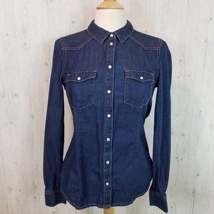 Vero Moda Jean Shirt Pearl Snap Size 8 Dark Denim